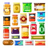 Canned goods set Stock Photos