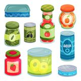 Canned goods, tinned food in a cans, glass jars and metal container cartoon vector Illustrations stock illustration