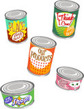 Canned Graphics 2. Set of 5 Images of Canned Goods stock illustration