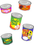 Canned Graphics. Set of 5 Images of Canned Goods royalty free illustration