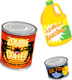 Canned Graphics 4. Set of 3 Canned Goods royalty free illustration