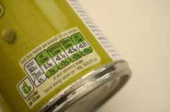 Tinned Food Colour Coded Nutrition Label Stock Photos