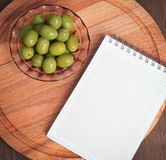 Canned green olives Royalty Free Stock Photos