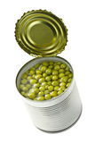 Canned green peas Royalty Free Stock Photography