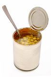 Canned green peas Stock Photo