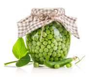 Canned green peas in glass jar Stock Photos