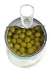 Canned green peas.isolated. Canned green peas in tin on white Stock Photo