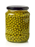 Canned green peas Stock Photos