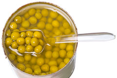 Canned green peas in a metal jar Royalty Free Stock Images