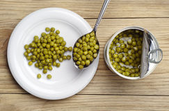 Canned green peas Stock Photography