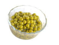 Canned green peas Stock Image