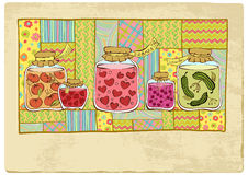 Canned hearts. Shelf with house canned food, among which tinned hearts. An excellent card for lady-killer at date of sacred Valentine royalty free illustration
