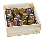 Canned jams with nuts and dried fruit Royalty Free Stock Photos