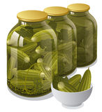 Canned jars of cucumbers Stock Images