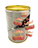 Canned laughter. Photo of a tin can being unzipped with laughing teeth coming out of the can Royalty Free Stock Image