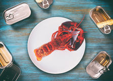 Canned lobster Royalty Free Stock Photo