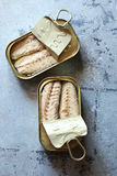 Canned mackerel fillets in metal tins Royalty Free Stock Photos