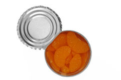 Canned mandarins isolated on white Stock Photos