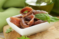 Canned marinated anchovies fillets Stock Photo