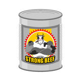 Canned meat  beef. Canned food from a serious and strong cow. St Royalty Free Stock Photography