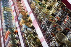 Canned meat and fish products in Russian food store Stock Photo