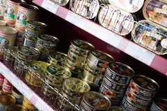 Canned meat and fish products in Russian food store Royalty Free Stock Photo