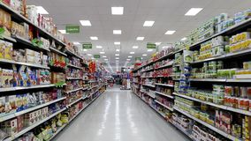 Canned meat and gluten free food corridor stock footage