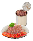 Canned meat on plate Stock Photos