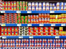 Canned meat products sold in a grocery store royalty free stock photo