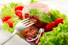 Canned meat with salad Royalty Free Stock Photo