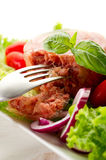Canned meat with salad Royalty Free Stock Photos