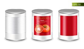 Canned metallic set Vector realistic mock up. Product placement. 3d detailed illustrations. Canned metallic set isolated Vector realistic mock up. Product stock illustration