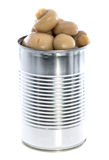 Canned Mushrooms isolated on white Royalty Free Stock Image