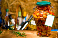 Canned olives in brine with vegetables Royalty Free Stock Photo