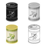 Canned olives in a can.Olives single icon in cartoon style vector symbol stock illustration web. Stock Photography