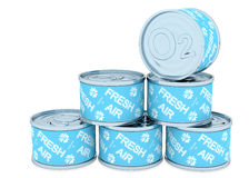 Canned oxygen 6 tin, fresh air. Canned oxygen, 6 tin, rendered models Royalty Free Stock Photos
