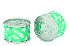 Canned oxygen, two green tins Royalty Free Stock Photo