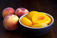 Canned peach halves in bowl on dark background with whole fresh Stock Photography