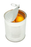 Canned peaches Stock Image