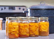 Free Canned Peaches With Large Pot Or Canner Stock Photos - 26612303