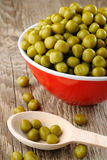 Canned peas in bowl Stock Image