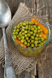 Canned peas and carrots Royalty Free Stock Photos