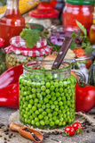 Canned peas Stock Image