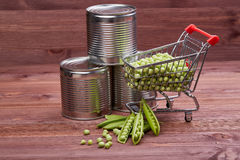 Canned peas and fresh peas in shopping trolley. Stock Photography