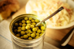 Canned peas Royalty Free Stock Photo