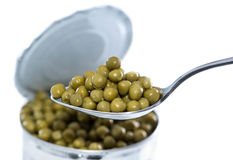 Canned Peas (on white) Royalty Free Stock Photo