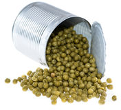 Canned Peas (on white) Royalty Free Stock Images