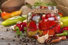 Canned peppers Stock Images