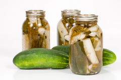 Canned and Pickled Cucumbers Royalty Free Stock Photography