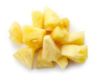 Canned pineapple chunks isolated on white, from above stock images